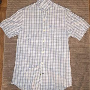 Izod Plaid Button Down Short Sleeve Shirt
